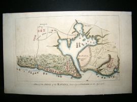 Cuba: 1766 Antique Map. Siege of Havana. Hand Colored